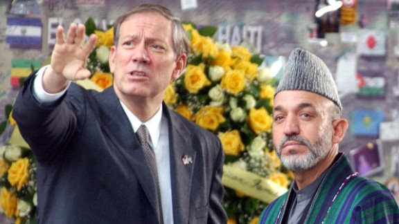Before serving as governor of New York, he was previously the mayor of Peekskill, New York. Pataki, left, talks about Ground Zero with then-Interim Afghan leader Hamid Karzai January 20, 2002, at the site of the 11 September terrorist attacks, in New York.