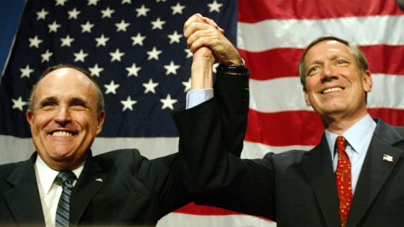 After finishing up as governor of New York, Pataki became an attorney with Chadbourne & Parke and worked on renewable energy cases. Pataki, right, celebrates with former New York Mayor Rudolph Giuliani at a luncheon during the 2002 New York Republican State Committee Convention May 29, 2002 in New York City.