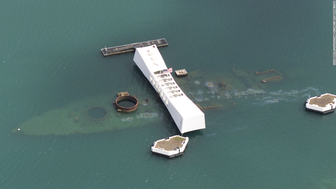 The 184-foot-long memorial sits atop the battleship sunk on December 7, 1941.
