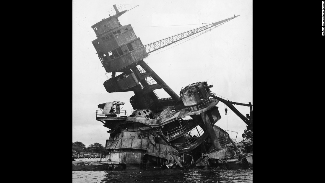 The mast of the destroyed battleship USS Arizona after the Japanese attack. It was the greatest loss of life ever in an attack on a U.S. warship, the National Park Service says.