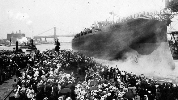 The USS Arizona is launched at the New York Navy Yard in June 1915. The ship was destroyed during the attack on Pearl Harbor, and more than 1,000 crew members were lost.