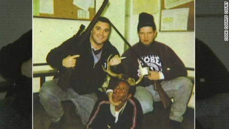 chicago white police pose with black man wearing antlers dnt_00000726