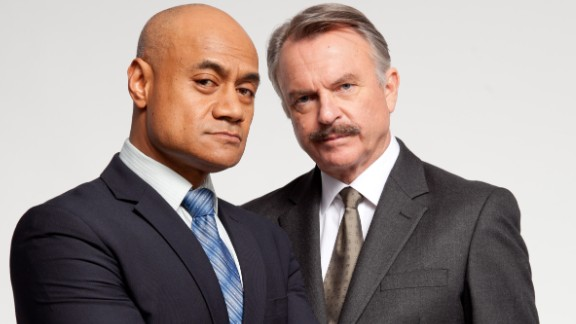 """""""Harry"""": Oscar Kightley, left, stars as Detective Harry Anglesea and Sam Neill as Detective Jim """"Stocks"""" Stockton in this six-part psychological thriller.  (Acorn)"""