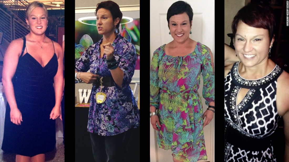 On the left is Candy in 2004, before she started her transformation. The other three photos showcase Candy as she is now: a speaker, trainer, CEO, author and certified master coach.