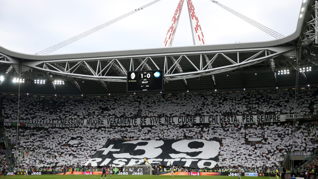 Juventus fans paid tribute to the 39 who lost their lives in the Heysel disaster during last week's final home game of the season.