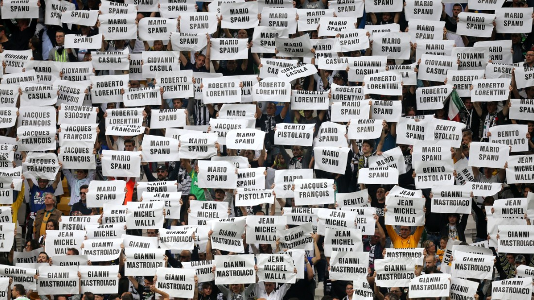 Juventus held aloft signs which featured the names of the 39 victims during the 39th minute of the 3-1 win against Napoli.