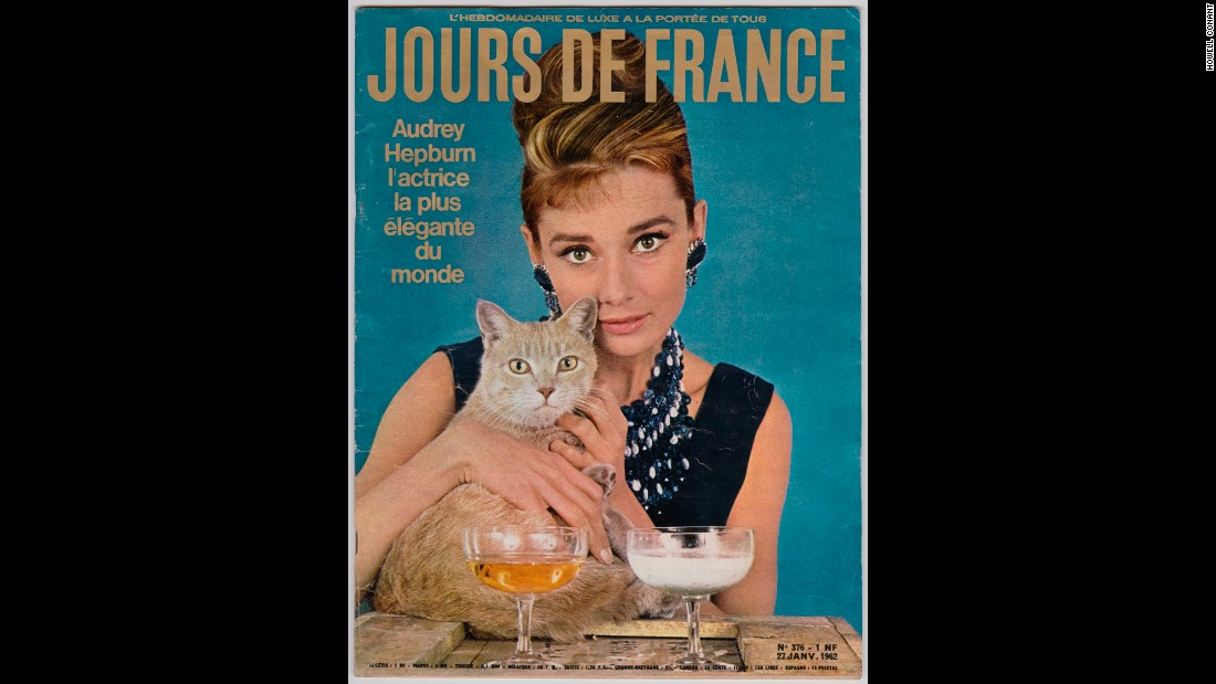 "Hepburn appears as her ""Breakfast at Tiffany's"" character Holly Golightly on the cover of Jours de France in January 1962."