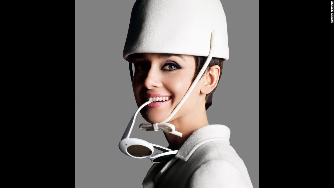 "Hepburn poses in a Givenchy design in this 1966 photograph by Douglas Kirkland. More than a decade earlier, Givenchy's fashion had helped to establish Hepburn ""as a unique star, far removed from the sexual 'pin-up' image of contemporaries such as Marilyn Monroe and Jane Russell,"" Trompeteler wrote."