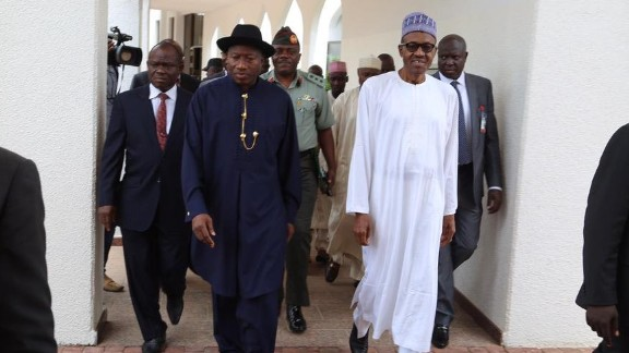 Nigeria's president-elect, Muhammadu Buhari, receives handover notes and a tour of the presidential villa from Goodluck Jonathan ahead of his inauguration.
