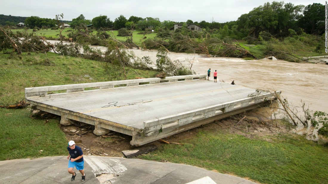 "The Fischer Store Road Bridge was destroyed in <a href=""http://www.cnn.com/2015/05/24/us/gallery/texas-oklahoma-flash-flood/index.html"" target=""_blank"">flooding</a> Sunday, May 24, near Wimberley, Texas."