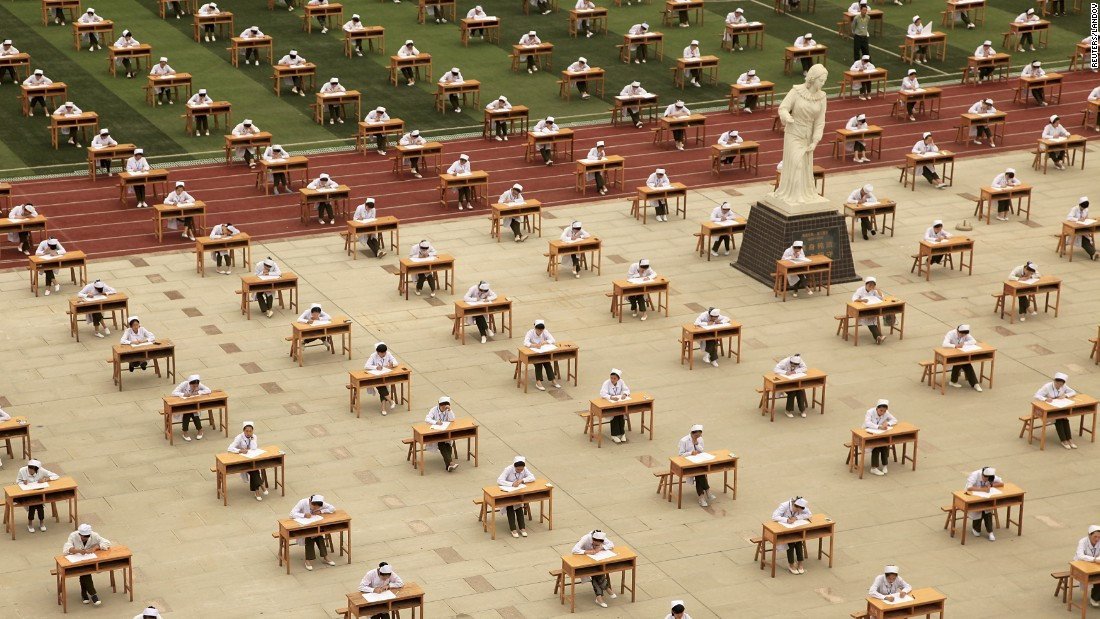 Hundreds of nursing-school students take an exam outside of a vocational college in Baoji, China, on Monday, May 25.