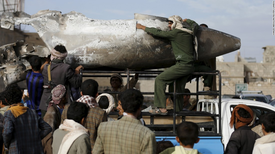 "Houthi rebels in Yemen transport part of a Saudi fighter jet that was found north of the capital of Sanaa on Sunday, May 24. A Saudi-led coalition <a href=""http://www.cnn.com/2015/01/20/world/gallery/yemen-unrest/index.html"" target=""_blank"">has been carrying out airstrikes against the rebels</a> since Yemen President Abdu Rabu Mansour Hadi fled the country in late March."