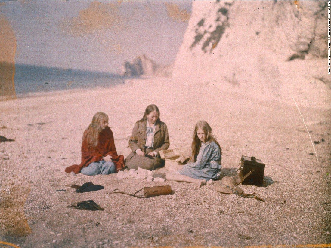 Christina is seen here with her mother, Florence, and her younger sister. Mervyn O'Gorman's camera case lies to their left. Autochrome glass plates did not require any special equipment, and could be used with any camera. <br /><br />Mervyn died in 1958. His wife much earlier, in 1931. As for the daughters, no records are available.