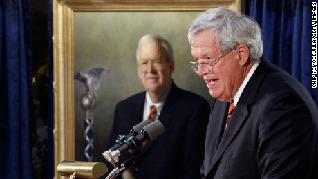 Former Speaker of the House Dennis Hastert of Illinois delivers remarks during the unveiling ceremony of his portrait at the U.S. Capitol July 28, 2009.