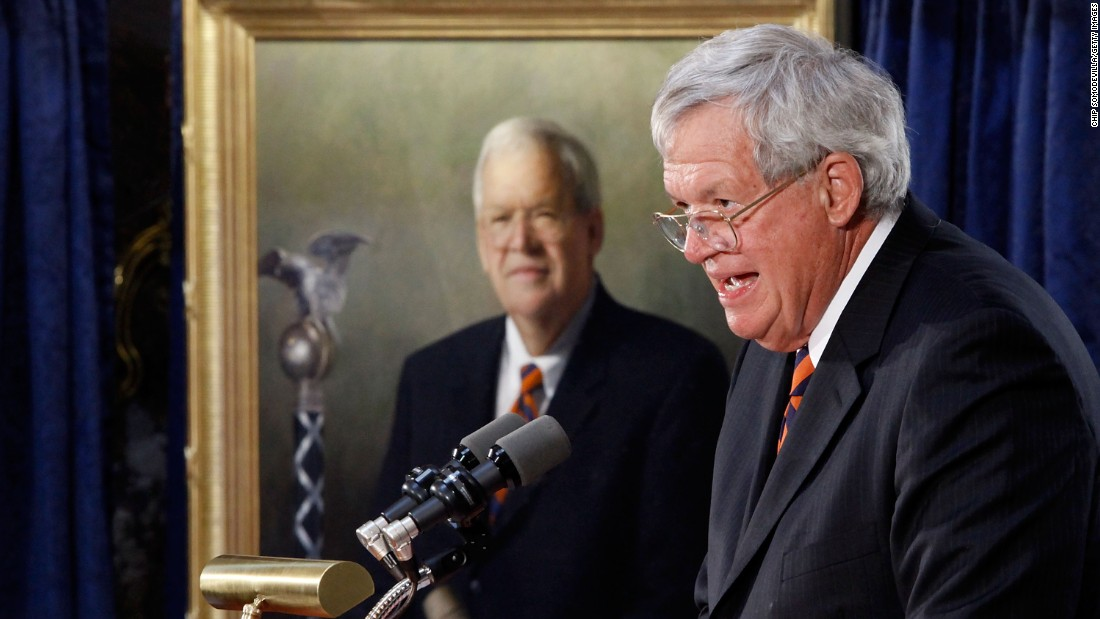 "Former Speaker of the House <a href=""http://cnn.it/1J5XO2p"" target=""_blank"">Dennis Hastert</a> was sentenced to 15 months in prison and ordered to pay $250,000 to a victims' fund in April after a hush-money case revealed he was being accused of sexually abusing young boys as a teacher in Illinois."