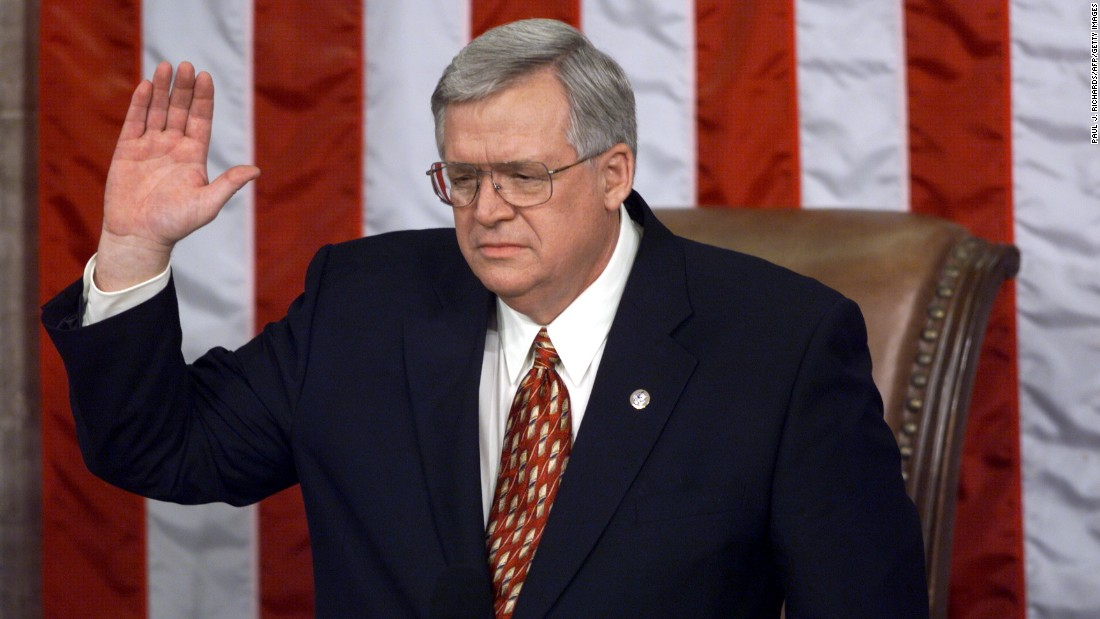 Hastert is sworn in as speaker of the House of Representatives on January 6, 1999, during the  opening session of the House in Washington. Hastert replaced Newt Gingrich.