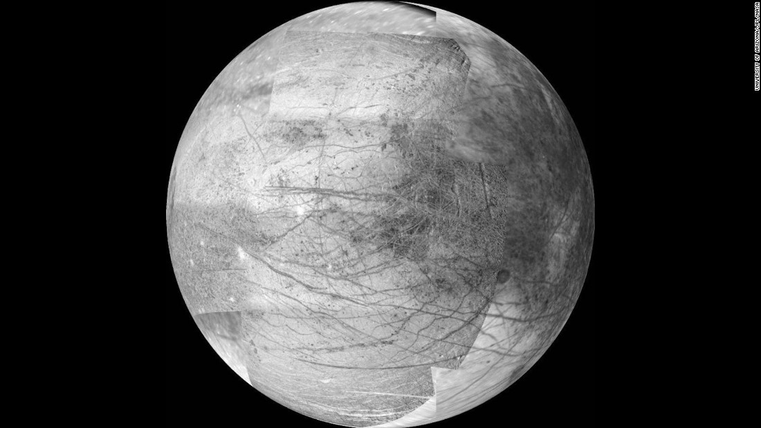 Jupiter's icy moon Europa may be the best place in the solar system to look for extraterrestrial life, according to NASA. The moon is about the size of Earth's moon, and there is evidence it has an ocean beneath its frozen crust that may hold twice as much water as Earth. NASA's 2016 budget includes a request for $30 million to plan a mission to investigate Europa. The image above was taken by the Galileo spacecraft on November 25, 1999. It's a 12-frame mosaic and is considered the the best image yet of the side of Europa that faces Jupiter.