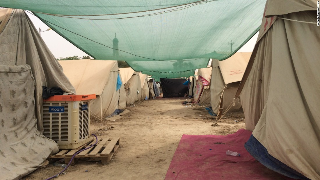 There has been an outpouring of support for the refugees at the camp in al-Jamiaa, including air-conditioning units that were donated by local residents.