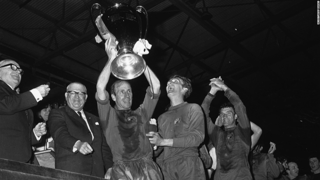 Manchester United captain Bobby Charlton lifted the European Cup at Wembley following victory over Benfica, with the triumph coming 10 years after his club had been involved in the 1958 Munich air disaster. Charlton, as well as his coach Matt Busby, had survived the tragedy.