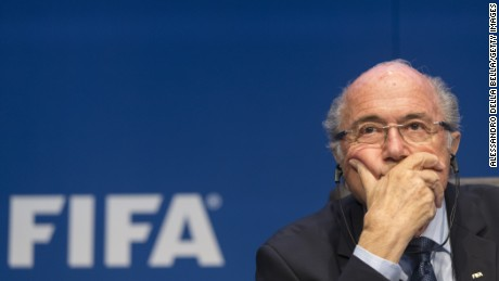 Newly re-elected FIFA president Sepp Blatter talks to the media at a press conference in Zurich, Switzerland, on May 30, 2015.