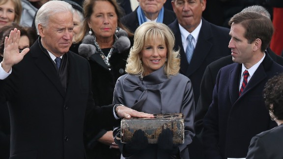 Caption:WASHINGTON, DC - JANUARY 21: U.S. Vice President Joe Biden is sworn in by Supreme Court Justice Sonia Sotomayor as Dr. Jill Biden and Beau Biden look on during the public ceremonial inauguration on the West Front of the U.S. Capitol January 21, 2013 in Washington, DC. Barack Obama was re-elected for a second term as President of the United States. (Photo by Alex Wong/Getty Images)