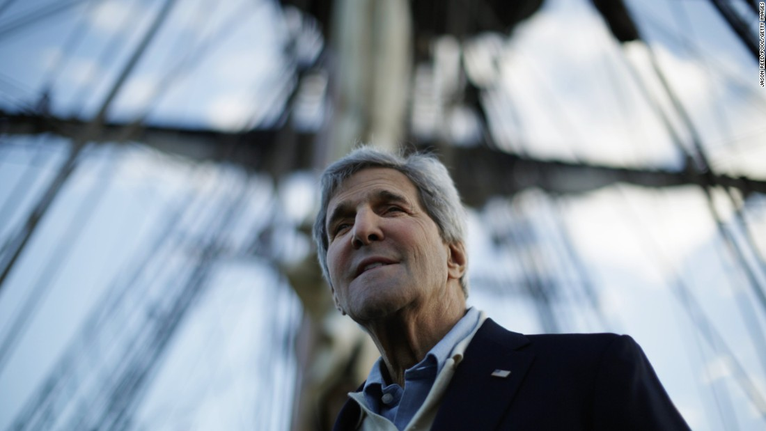 Kerry visits a replica of Captain Cook's ship Endeavour at the Australian National Maritime Museum in Sydney on August 11, 2014.