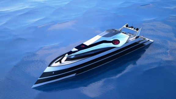 The concept vessel is designed primarily as a yacht but the detachable top deck can quickly be transformed into a helicopter or jet plane.