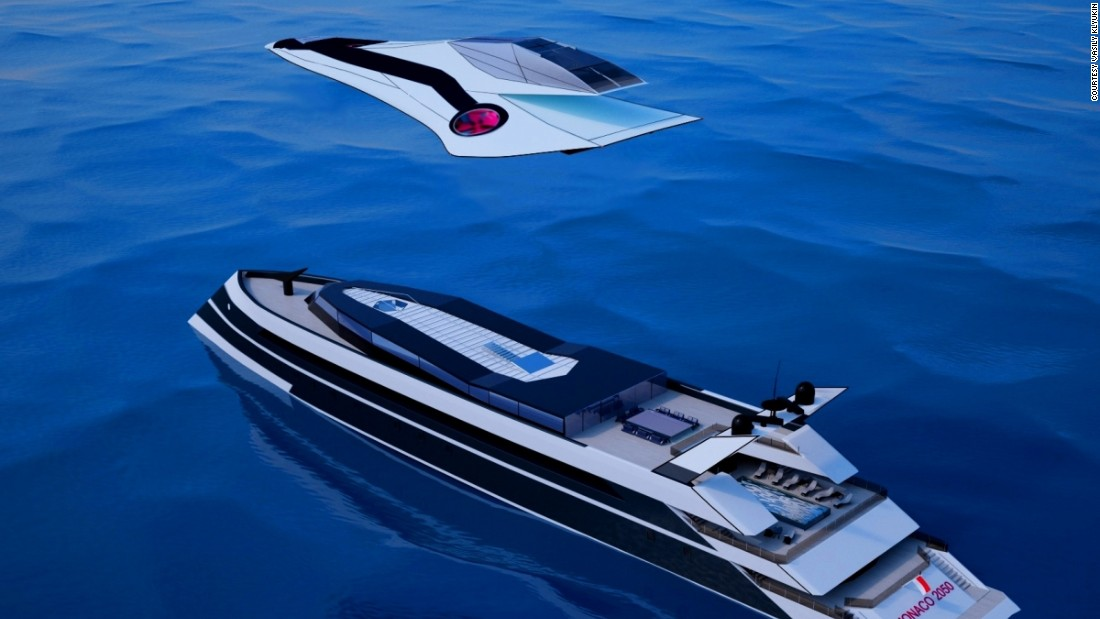 Klyukin's idea is that a jet plane can cover long-distance flights to and from the yacht while a helicopter could be used for shorter air journeys.