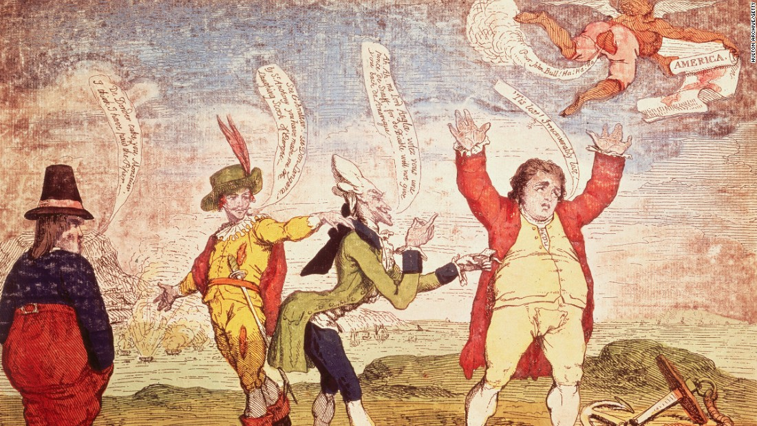 "James Gillray's 1783 cartoon for The Times newspaper, depicting a figure representing England being reproached by France, Spain and Holland for ""losing"" America."