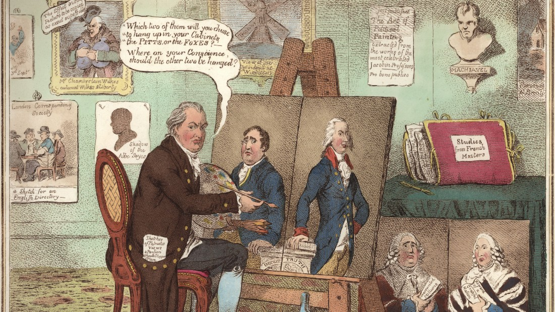 James Gillray's cartoon depicting political opponents William Pitt the Younger and Charles James Fox.