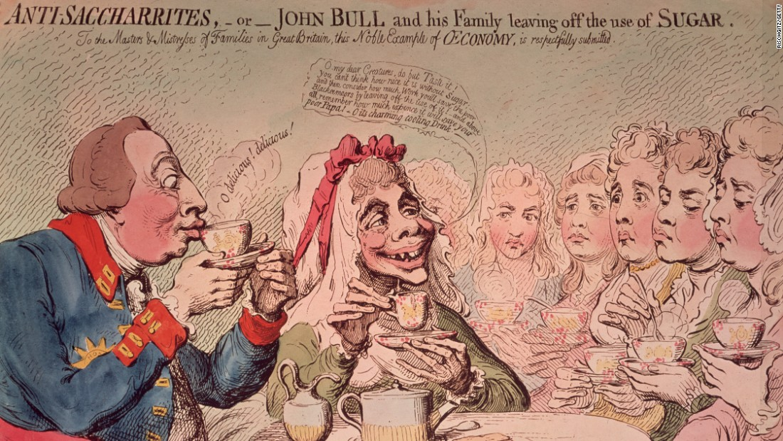 James Gillray's 1792 portrait of a couple modeled on King George III and Queen Charlotte, advocating the consumption of unsugared tea, for humanitarian and economical reasons.