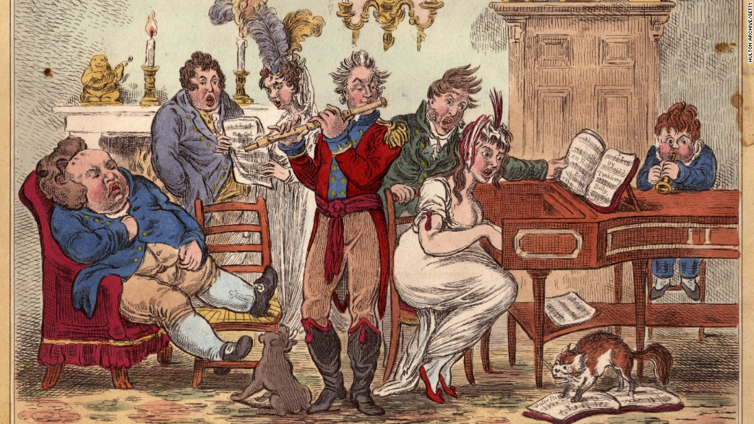 James Gillray's cartoon from c.1800 mocking drawing-room musicians. Caption:circa 1800: A Little Music, or the Delights of Harmony, mocking drawing-room musicians.