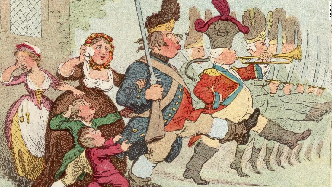 James Gillray's cartoon c. 1800 showing John Bull -- personifying Great Britain going to war.
