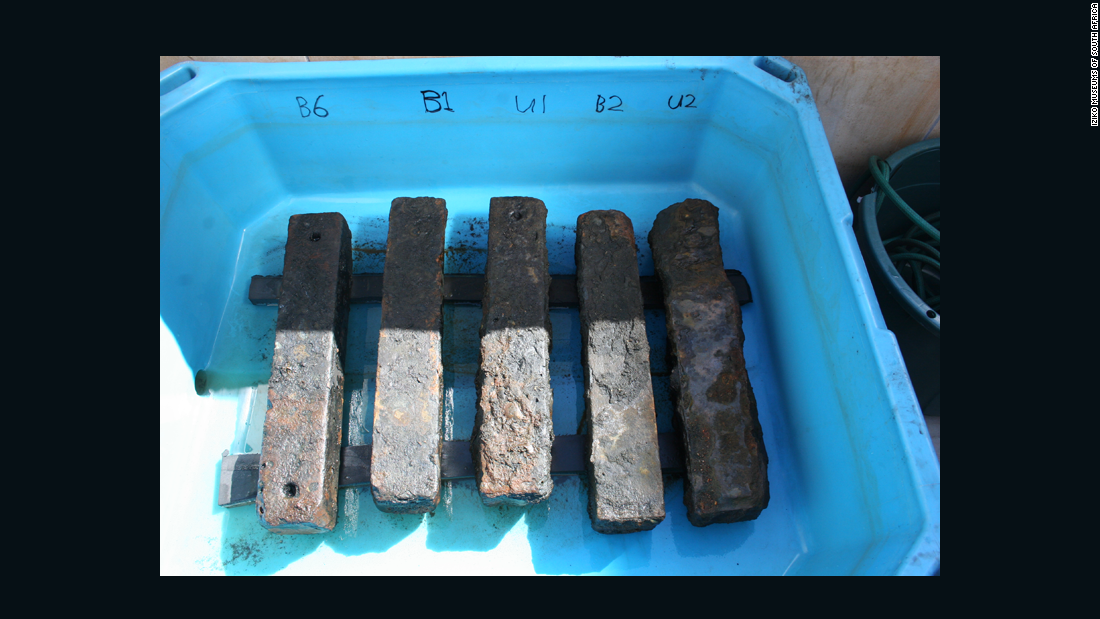 Iron ballast recovered from the Sao Jose slave ship wreck. The ballast helped to weigh down the slave ship and its human cargo.