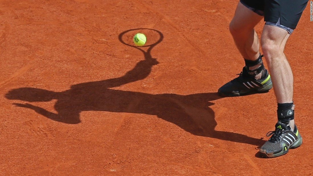 Andy Murray returns a shot while playing Nick Kyrgios in the third round of the French Open on Saturday, May 30. Murray won the match in straight sets.