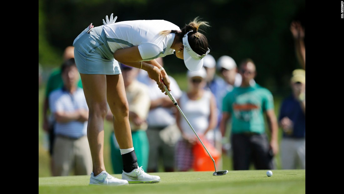 Michelle Wie putts during the first round of the ShopRite LPGA Classic on Friday, May 29. The tournament was played in Galloway Township, New Jersey.