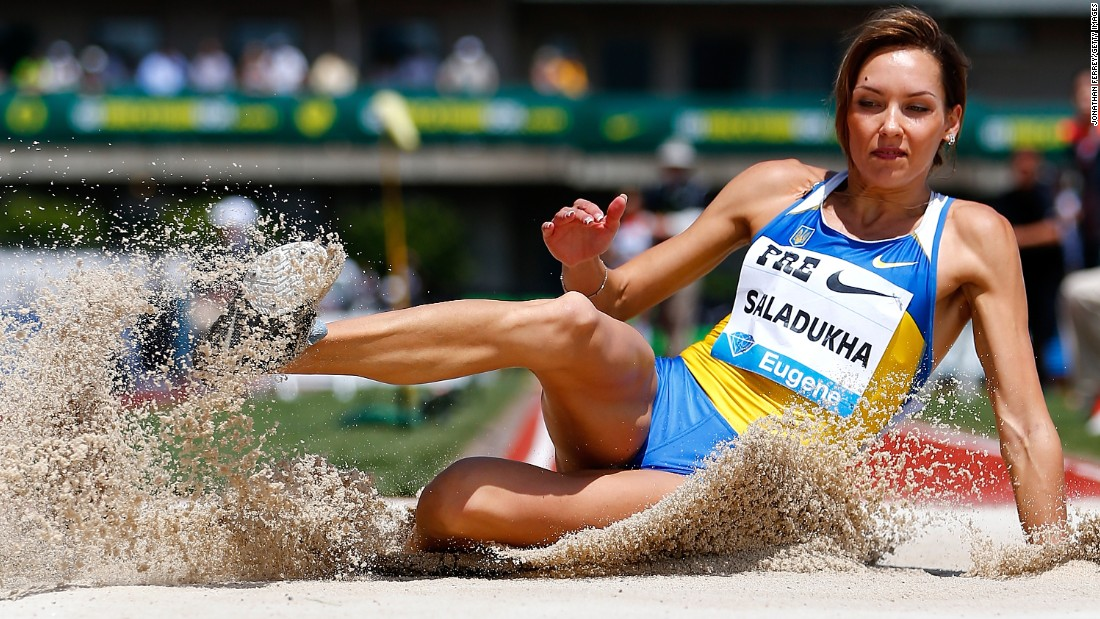 Ukrainian athlete Olha Saladukha competes in the triple jump Saturday, May 30, during the Prefontaine Classic in Eugene, Oregon.