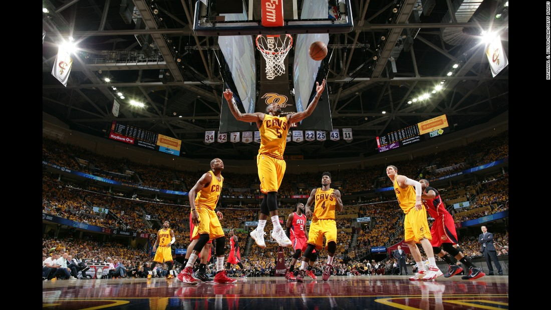Cleveland's J.R. Smith grabs a rebound during Game 4 of the Eastern Conference Finals on Tuesday, May 26. The Cavaliers swept Atlanta for a spot in the NBA Finals.