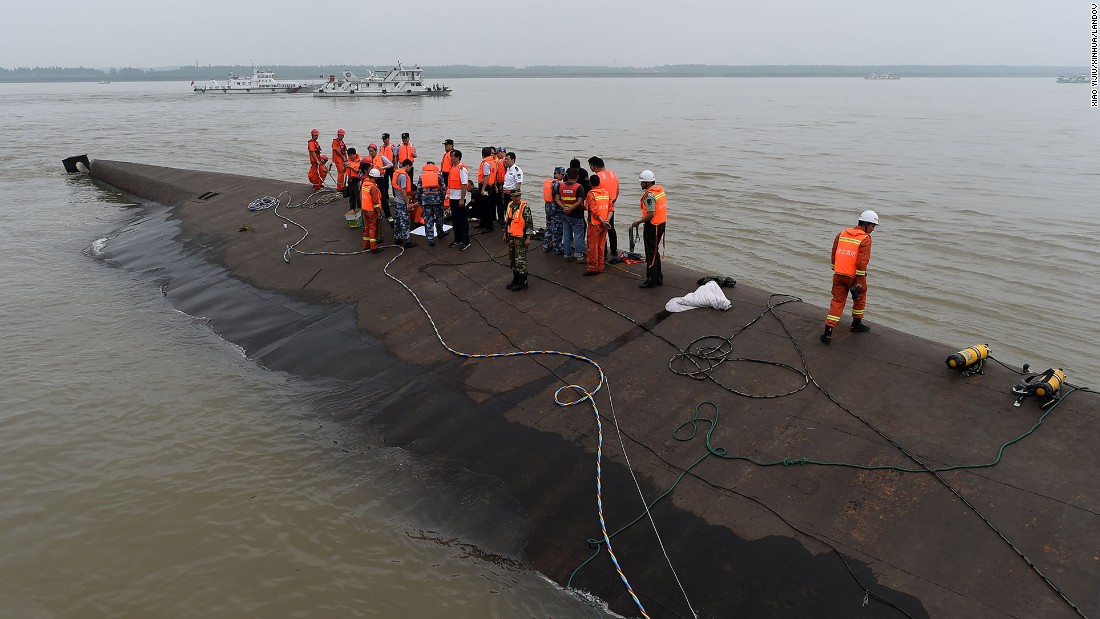 Rescuers work at the site of the overturned passenger ship on China's Yangtze River on June 2.