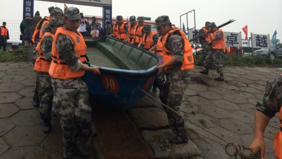 Rescue workers prepare a boat for the search on June 2.