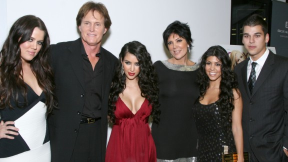 "Jenner attends the premiere of the reality show ""Keeping Up with the Kardashians"" in 2007 with, from left, Khloe Kardashian, Kim Kardashian, Kris Jenner, Kourtney Kardashian and Rob Kardashian."