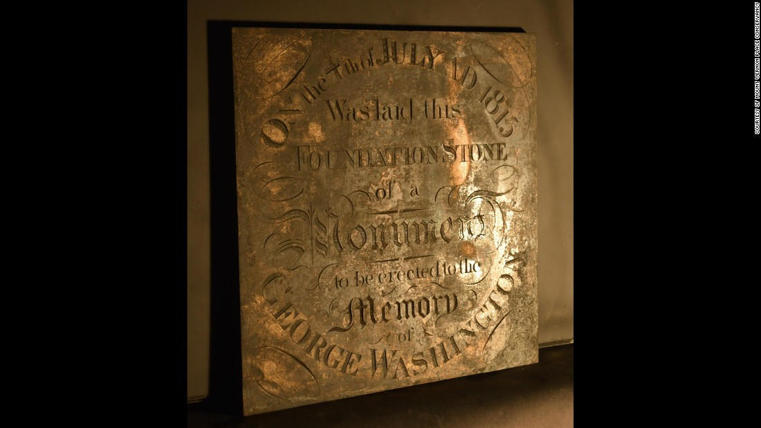 This is the commemorative brass plate from the cornerstone. The monument's original 1815 cornerstone was found in February of this year.