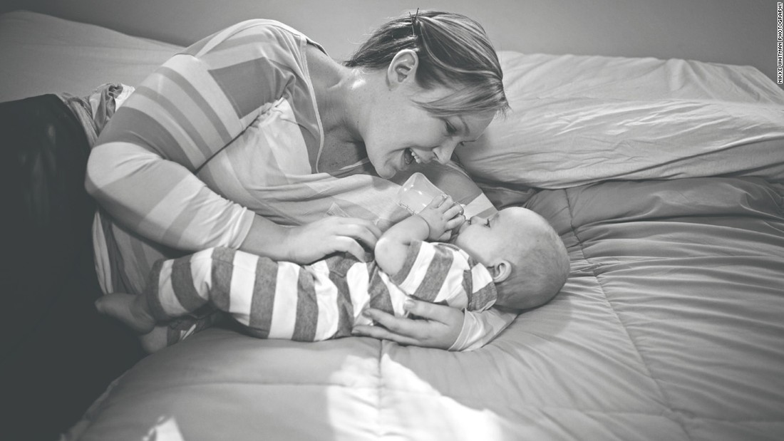 "Brittnae had hoped to breastfeed her son, Mason, but he continued to lose weight after birth. After several attempts to increase her supply, she began to feed Mason bottles of donated breast milk. ""My struggle to breastfeed and my journey to find what was best for our family has completely humbled me,"" Brittnae wrote on Whitman's blog."