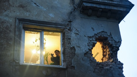 Shelling between Ukrainian troops and pro-Russian rebels leaves damage in Donetsk, Ukraine, on Monday, June 1.