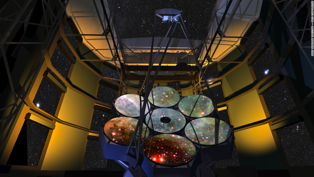 The Giant Magellan Telescope (GMT), pictured here in an artist's rendering, is set to be the largest optical telescope ever built on Earth.