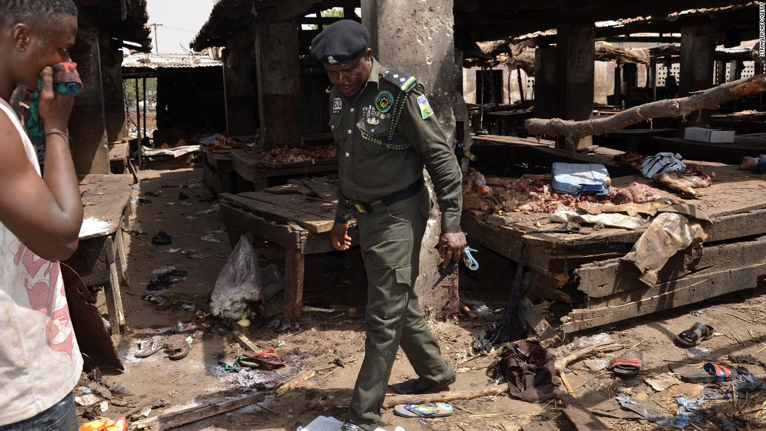 A Nigerian policeman inspects the site of a suicide attack by Boko Haram at a busy cattle market in the northeastern Nigerian city of Maiduguri in June, 2015. Boko Haram overtook ISIS as the world's deadliest terror group last year, according to the Global Terrorism Index, while Nigeria had the biggest year-on-year increase in terrorism, with deaths up more than 300%.