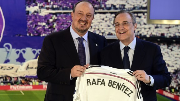 Real boss Florentino Perez (R) has taken part in many deals involving Mendes and was a guest at his wedding. He is seen welcoming in new coach Rafa Benitez earlier this year.