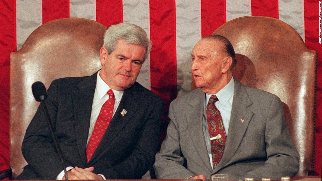 The late South Carolina Sen. Strom Thurmond, right, began his political career as a Democrat but became a Republican in the middle of the 1964 civil rights battle. He is famous for his long filibuster of the 1964 Civil Rights Act.