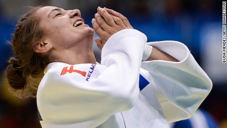 Majlinda Kelmendi of Kosovo celebrates the victory and gold medal in the -52 kg category during the World Judo Championships at Maracanazinho gymnasium on August 27, 2013 in Rio de Janeiro, Brazil.(Photo by Buda Mendes/Getty Images)