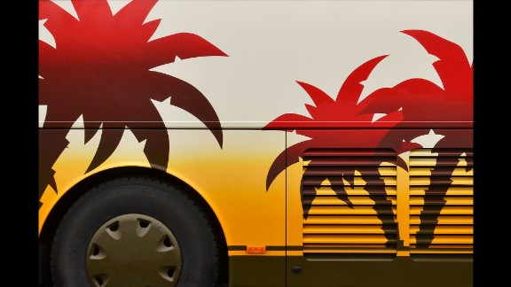 Holland prefers to shoot the buses when they are parked, and on cloudy days to avoid glares and shadows.